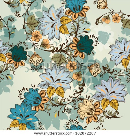 Vintage vector seamless wallpaper with swirls and hand drawn flowers - stock vector