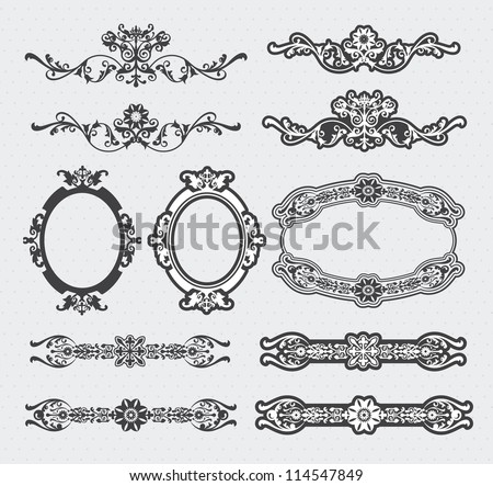 Vintage vector set - calligraphic style decorative elements and page decoration - stock vector
