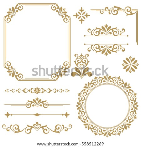 Vintage vector Set. Floral elements for design of monograms, invitations, frames, menus, labels and websites. Graphic elements for design of catalogs and brochures of cafes, boutiques