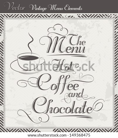 Vintage Vector set for coffee and chocolate menus - stock vector