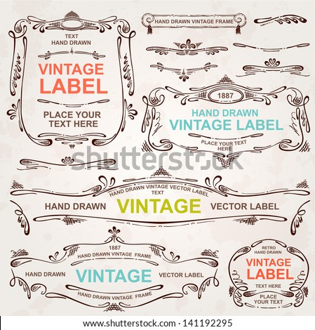 Vintage vector set: hand drawn design elements and frames - stock vector