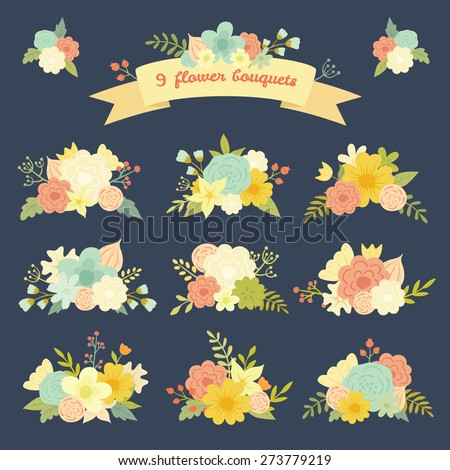 Vintage vector set of 9 colorful cute floral bouquets. Retro floral set. Save the date design collection. - stock vector