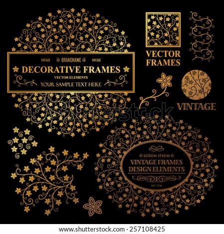 Vintage vector set: wedding invitation flower frames, logotypes and ornamental elements on a black background - stock vector