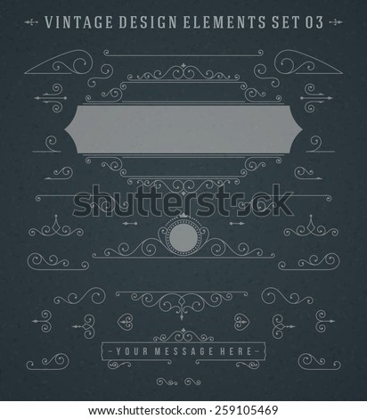 Vintage Vector Swirls Ornaments Decorations Design Elements on Chalkboard. Flourishes calligraphic combinations retro design for Invitations, Posters, Badges, Logotypes and other design. - stock vector