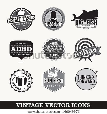 Vintage vector symbols - stock vector