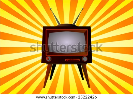 vintage vector television on yellow orange rays background - stock vector