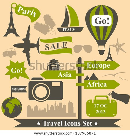 Vintage vector travel icons set - stock vector