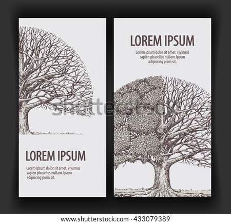 Vintage vector tree. Design template banner ecology or nature, forest. Hand-drawn sketch illustration - stock vector