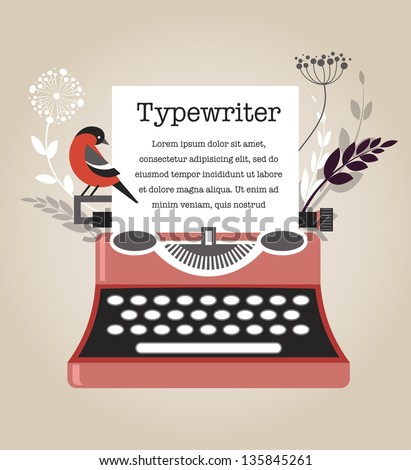 Vintage Vector Typewriter - stock vector