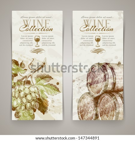 Vintage vector vertical banners with hand drawn grapes and casks - stock vector