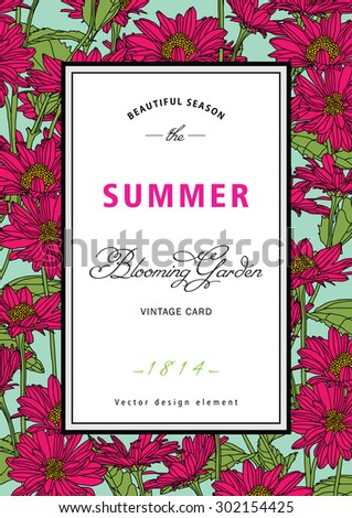 Vintage vector vertical card summer. Blooming branches of chamomile, chrysanthemums, on color background. - stock vector