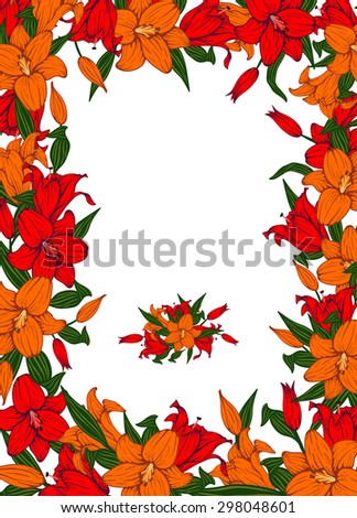 Vintage vector vertical invitation card. Colorful blooming lilies. - stock vector