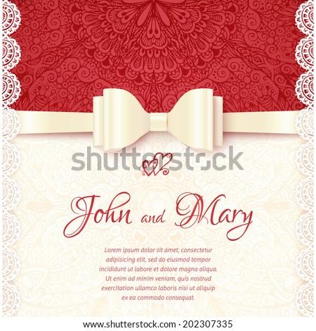 Vintage vector wedding card template - stock vector