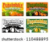 vintage vegetable labels - stock vector