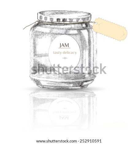 Vintage Vial of jam. Hand drawn design elements. Freehand drawing icon Bottle. Vial. Flask.  Isolated image with shadow. Traditional sweets - stock vector