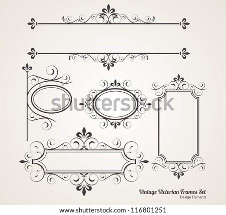 Vintage victorian frame set vector - stock vector
