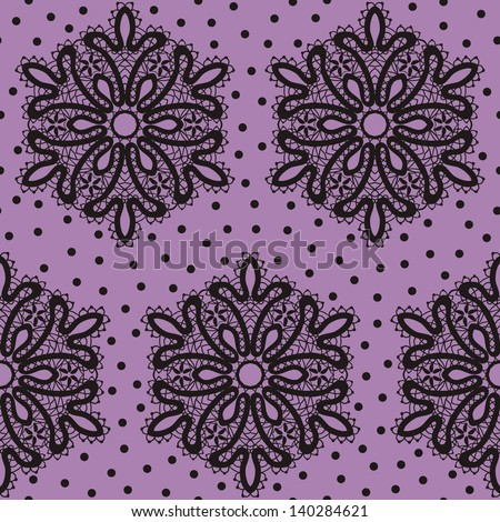 Vintage Victorian Lace Seamless Pattern. Copy that square to the side and you'll get seamlessly tiling pattern which gives the resulting image ability to be repeated or tiled without visible seams. - stock vector