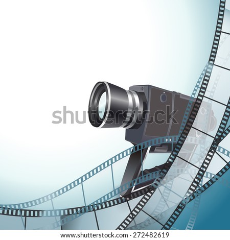 vintage video camera and filmstrip background - stock vector