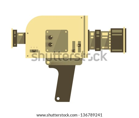 Vintage video camera isolated on white. Vector illustration. - stock vector