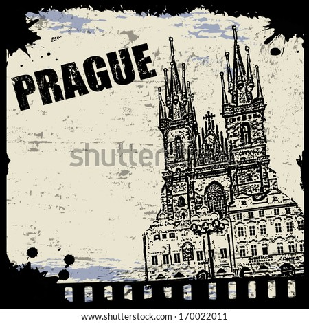 Vintage view of Prague on the grunge poster, vector illustration - stock vector