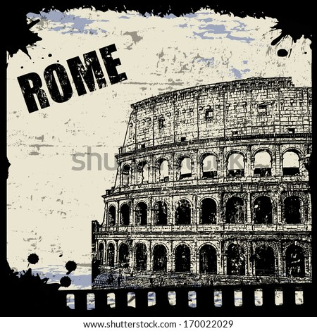 Vintage view of Rome on the grunge poster, vector illustration - stock vector