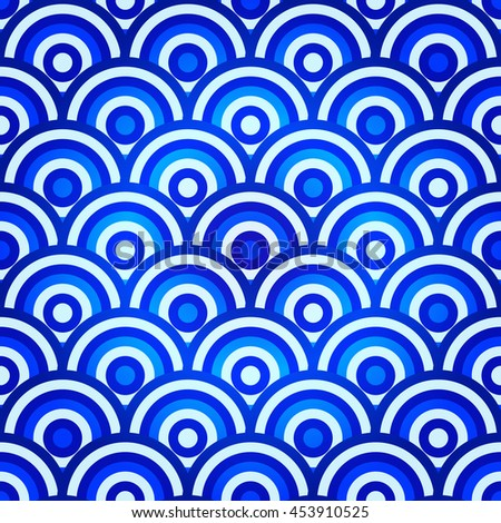 Vintage violet-blue-white repeating vintage pattern with circles (vector, eps10) - stock vector