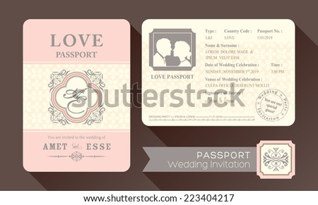 Vintage visa passport wedding invitation card stock photo photo vintage visa passport wedding invitation card design template stopboris Image collections