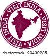 Vintage Visit India Tourism Stamp - stock