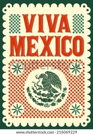 Vintage Viva Mexico - mexican holiday vector poster - stock vector