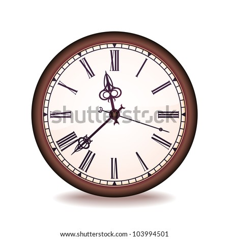 Vintage wall clock with the Roman figures - stock vector