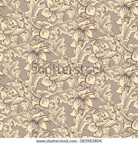 Vintage Wallpaper Seamless Pattern Composed Of Leaves And Flowers Victorian Baroque Rococo Style