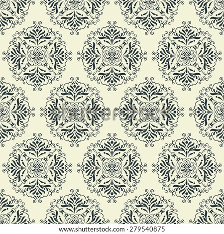 vintage wallpaper seamless pattern with abstract ornaments - stock vector