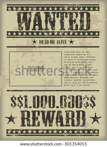 Vintage wanted poster - vector illustration eps 10 format