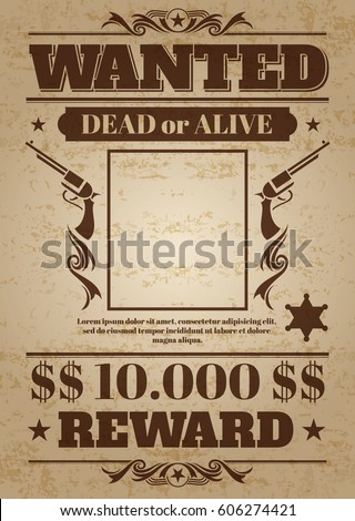 Vintage wanted western poster with blank space for criminal photo. Vector mockup wanted banner with frame photo, wanted retro message illustration.