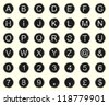 Vintage warn and faded typewriter keys. Vector set of letters, numbers and symbols. - stock photo