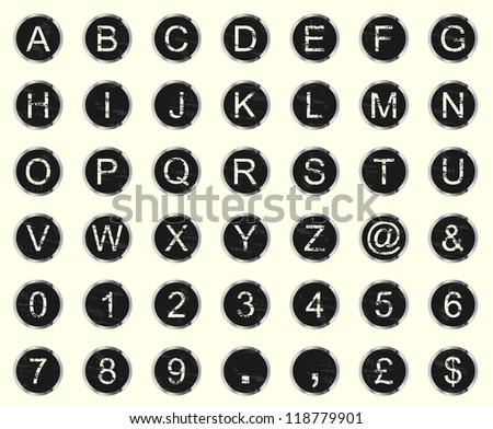 Vintage warn and faded typewriter keys. Vector set of letters, numbers and symbols.