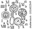 Vintage watch set - stock vector