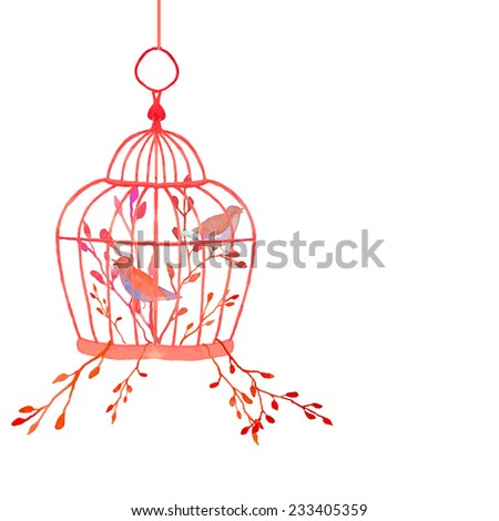 Vintage watercolor cage. Hand painted vector illustration with plants and birds. Floral wedding object - stock vector