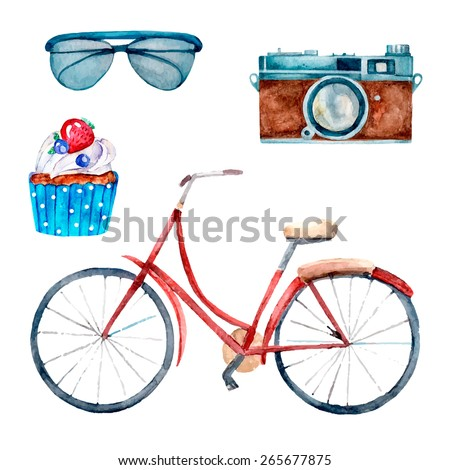 Vintage watercolor elements for your design including bike, camera, glasses, cupcake. Stylish hipster illustration in vector.  - stock vector