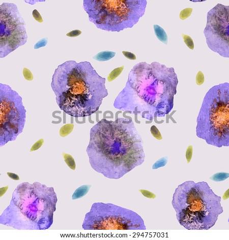 Vintage Watercolor Flower Pattern. White backdrop. Modern Watercolor Flower Pattern Background. Watercolor Pattern. - stock vector