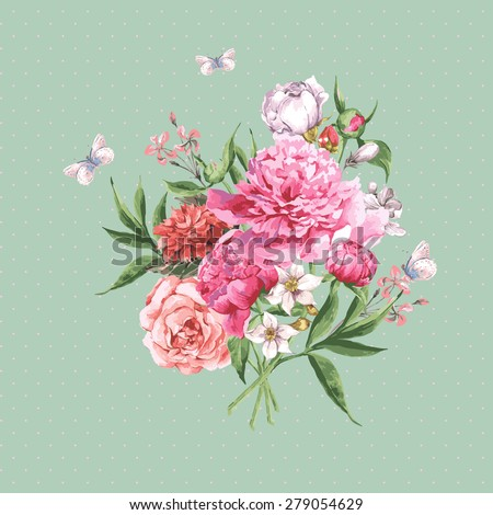 Vintage Watercolor Greeting Card with Blooming Flowers and Butterflies. Roses, Wildflowers and Peonies, Vector Illustration on a Turquoise Background - stock vector