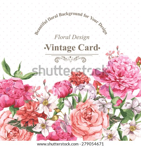 Vintage Watercolor Greeting Card with Blooming Flowers. Roses, Wildflowers and Peonies, Vector Illustration on a White Background - stock vector