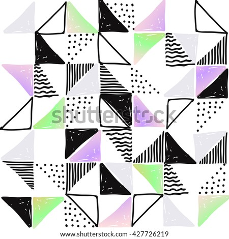 Vintage watercolor handrawn pattern. Geometric plus triangle boho style details decorative background pattern in vector. Tropical vector set, fashion print, T-shirt design. Eps 10.
