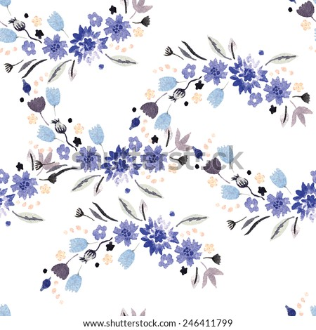 Vintage watercolor pattern with small flowers. Hand painting. Watercolor. Seamless pattern for fabric, paper and other printing and web projects. - stock vector