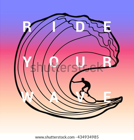 Vintage watercolor summer surf print with typography design Ride your wave. Tropical vector design, fashion print, T-shirt design. - stock vector