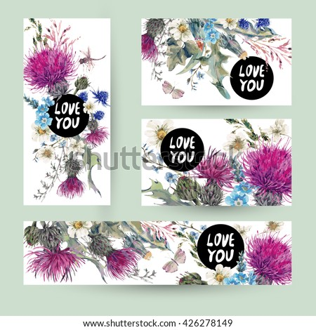 Vintage watercolor templates set herbal greeting card. Blooming Meadow Flowers-Thistles, Dandelions, Meadow Herbs Chamomile and Dragonfly Love you vector botanical illustration. Floral design elements - stock vector