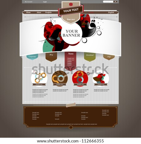 Vintage Web design - stock vector