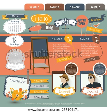 Vintage Web design elements 4 - stock vector
