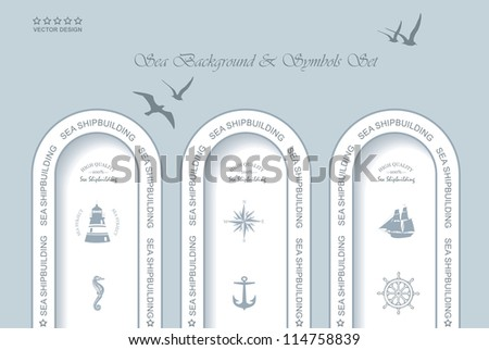 Vintage Web design. Set of vintage retro nautical badges and labels - stock vector