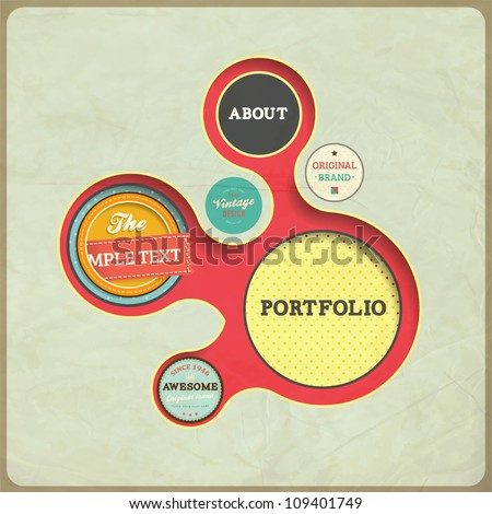 Vintage Web design template. Eps 10 vector Illustration. Old paper texture, retro style. - stock vector